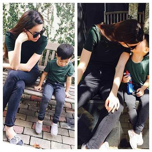 Hồ Ngọc Hà chia sẻ hình ảnh tình cảm bên cậu con trai nhỏ Subeo.
