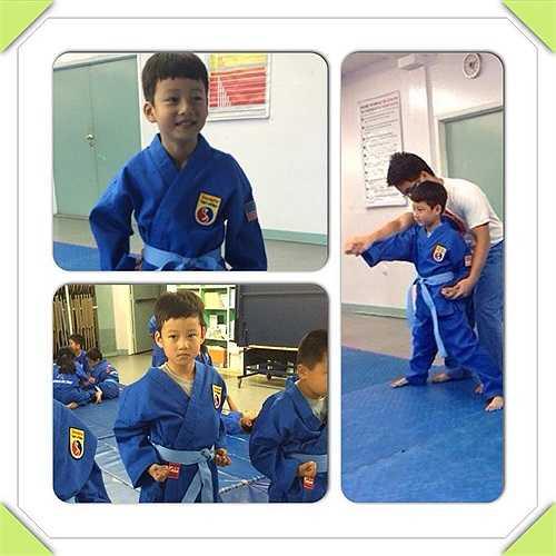 Jennifer Phạm khoe ảnh con trai Bảo Nam hứng thú với võ thuật.