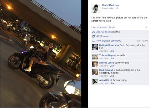 Hình ảnh được đăng tải trên fanpage cá nhân của David Beckham