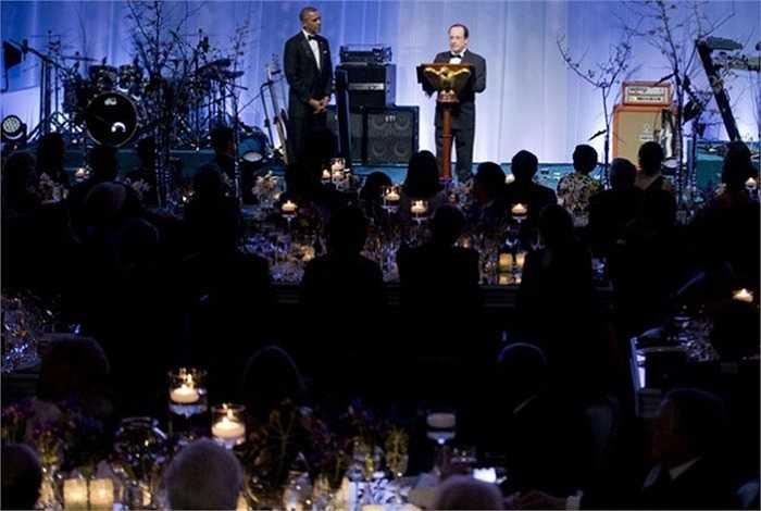Đây là quốc yến do Tổng thống Mỹ Barack Obama tổ chức trọng thể tại Nhà Trắng để chiêu đãi người đồng cấp Pháp Francois Hollande hồi tháng 2/2014.