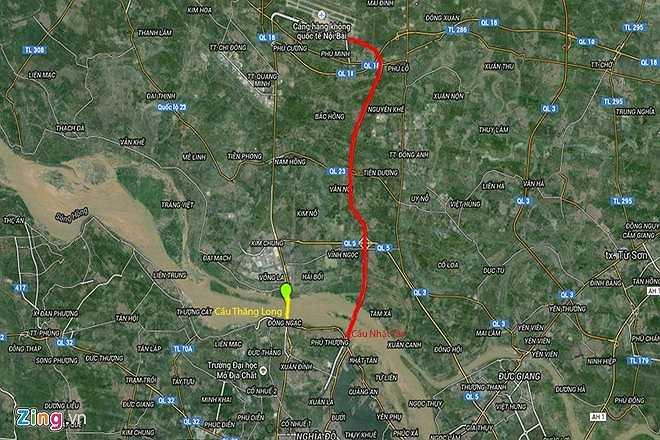 Đường kẻ đỏ là tuyến đường Võ Nguyên Giáp, tính từ điểm cuối cầu Nhật Tân tới Cảng Hàng không quốc tế Nội Bài. (Theo Zing)