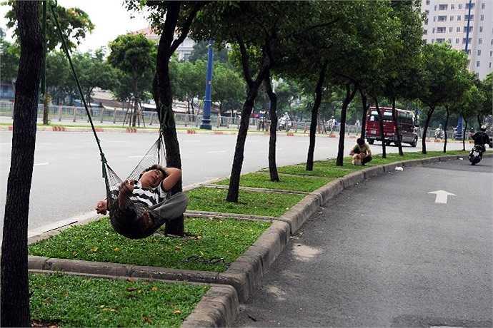 Suốt chiều dài đường Võ Văn Kiệt, từ quận 1 đến quận 6, chúng tôi gặp không ít người mắc võng ngủ ngon lành giữa hàng cây xanh. (Ảnh Quang Hưng)