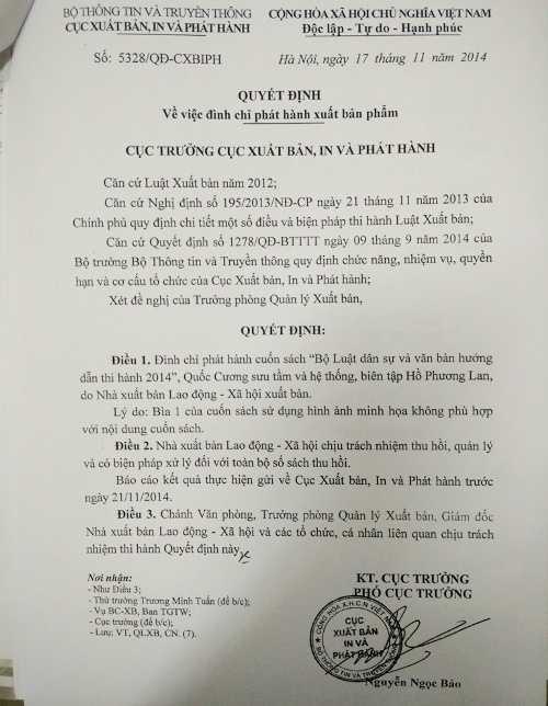 Quyết định xử lý của Cục Xuất bản, in và phát hành đối với cuốn sách Luật có bìa phản cảm