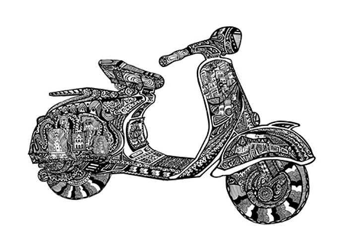 Bức tranh vẽ Hà Nội trên chiếc Vespa của Đào Đức Lộc