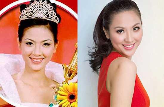 Phan Thu Ngân: Đăng quang Hoa hậu Việt Nam năm 2000, lúc đó cô mới ngoài 20 tuổi. Người đẹp từng được ví như cô bé Lọ Lem thời đại mới bởi Thu Ngân xuất thân từ một gia đình lao động nghèo, sống bằng nghề bán bánh canh ngoài chợ.