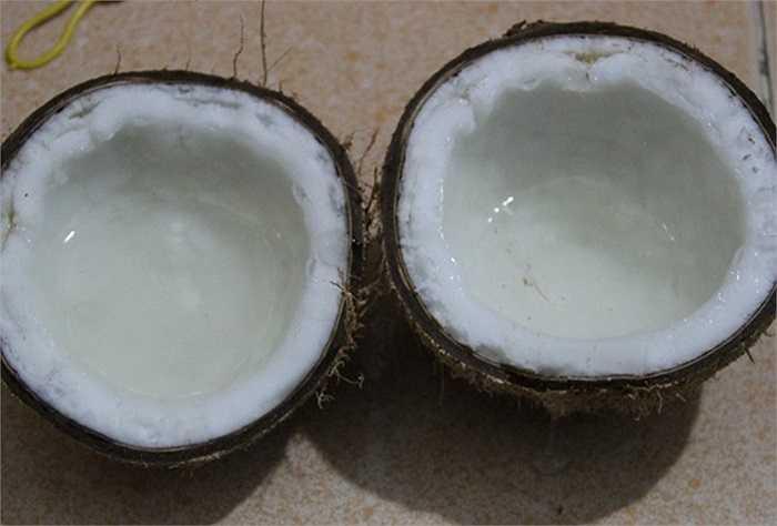 Cơm dừa sáp dẻo, nước dừa trong như rau câu và rất sệt.