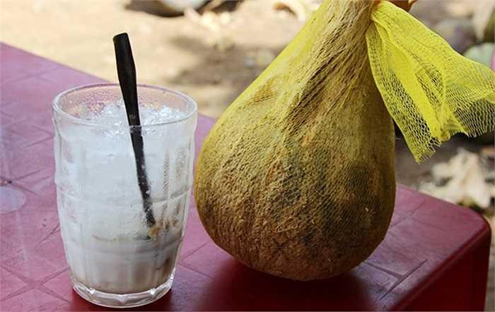 Dừa sáp còn được xay sinh tố với đường sữa, giá bán một ly 20.000 đồng.