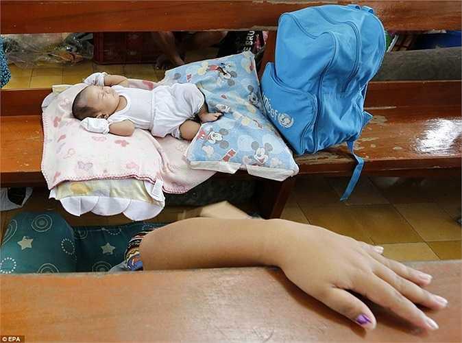 Em bé nằm gọn trên ghế nhà thờ