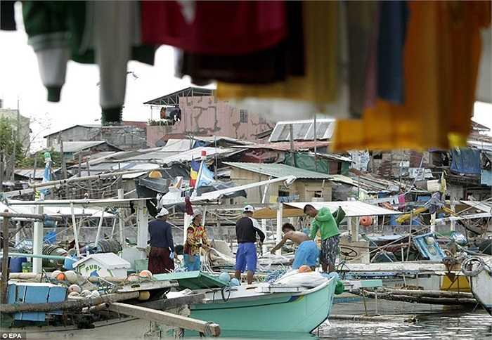 Nhóm các ngư dân neo đậu thuyền trước khi bão vào