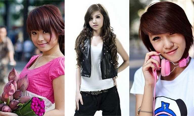 Hình ảnh thuở mới vào nghề của Huyền Baby (trái), Hạnh Sino (giữa), Emily (phải).
