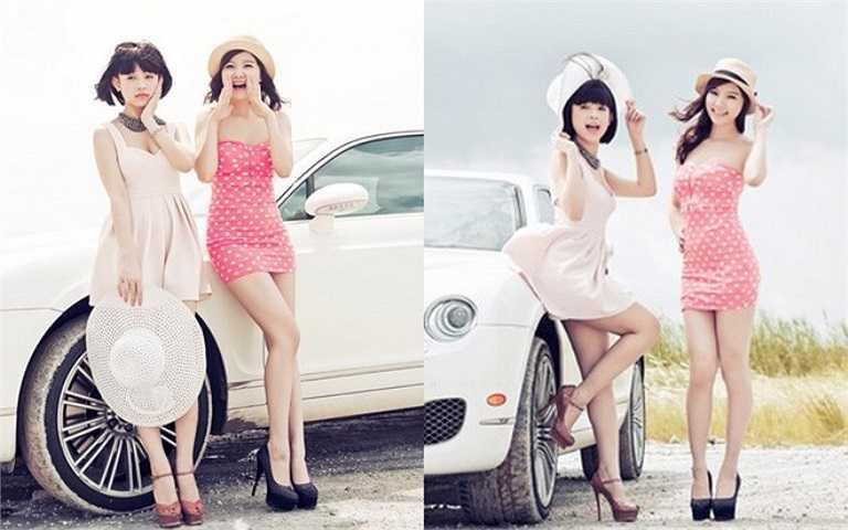 Vào năm 2012, Huyền Baby và Hạnh Sino diện váy ngắn tạo dáng với xế hộp thuộc dòng xe sang là Bentley.