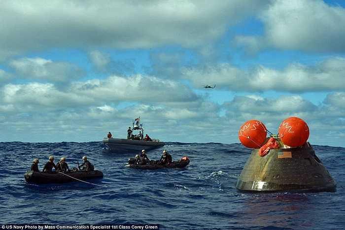 Ngay sau khi tàu Orion đáp xuống mặt biển, lực lượng Hải quân Mỹ đã tiếp cận để thu hồi con tàu. Công tác này được thực hiện rất nhanh và kịp thời bởi xác cũng như thông số kỹ thuật của con tàu này được liệt vào hàng bí mật quốc gia.