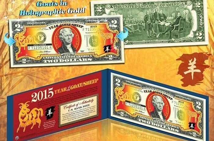 Tờ 2 USD này là tờ tiền thật, được in 2 hình con dê chụp nghiêng tại mặt trước, đi kèm là một phong bao và chứng nhận của Bộ Tài chính Mỹ. Được cho là món quà hot nhất năm nay, một số trang mạng trong nước đang rao bán tờ tiền này giá 500.000 – 600.000 đồng, trong khi một số trang nước ngoài rao bán chỉ 13,5 USD (khoảng 300.000 đồng). Ảnh: FBNV.