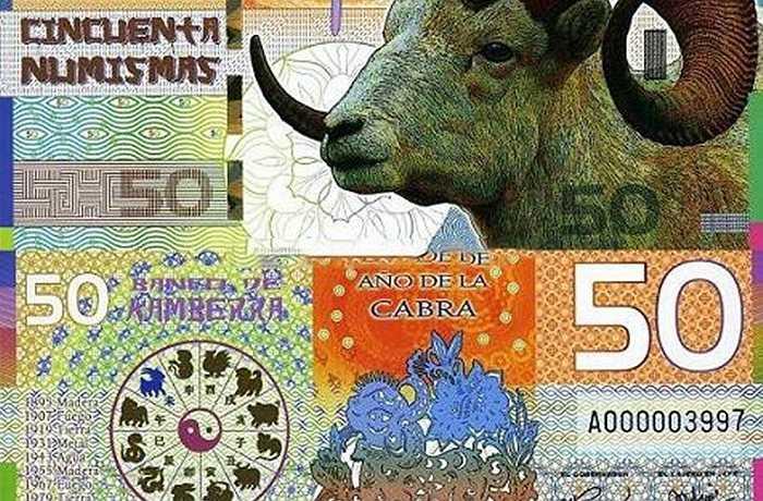Tiền in hình dê 50 Numismas 2015 giá bán 250.000 đồng/tờ.