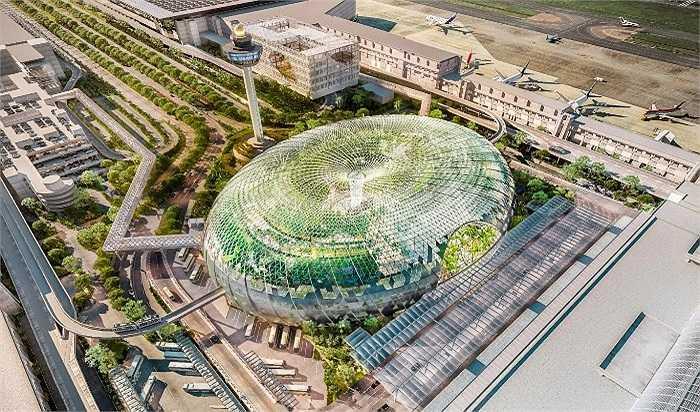 Sân bay Jewel Changi tại Singapore dự kiến sẽ xây dựng xong vào năm 2018 được thiết kế với đầy đủ tiện nghi, từ các cửa hàng ăn uống, đồ thời trang đến công viên, sân vườn, thác nước.