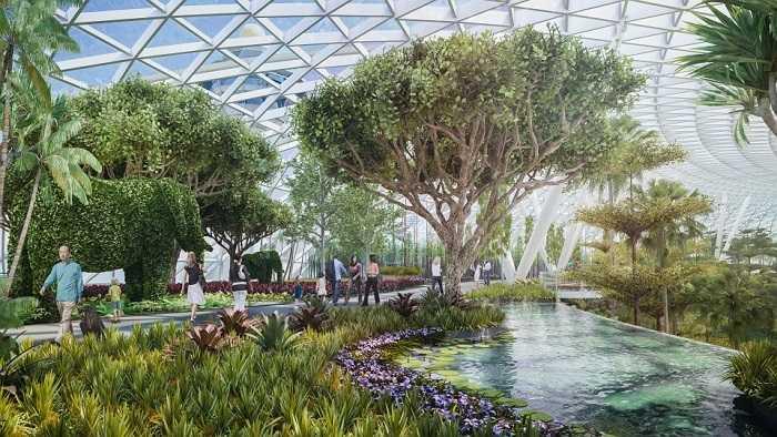 Canopy Park là công viên nằm trong sân bay, có diện tích 13.000 m2, bao gồm khá nhiều vườn cây, lối đi bộ, sân chơi và nhà hàng. Hơn 200 hãng bán lẻ trong và ngoài Singapore sẽ được đặt cửa hàng ở Jewel Changi. Các tín đồ mua sắm có thể thỏa mãn nhu cầu cá nhân, lại không sợ trễ chuyến bay.