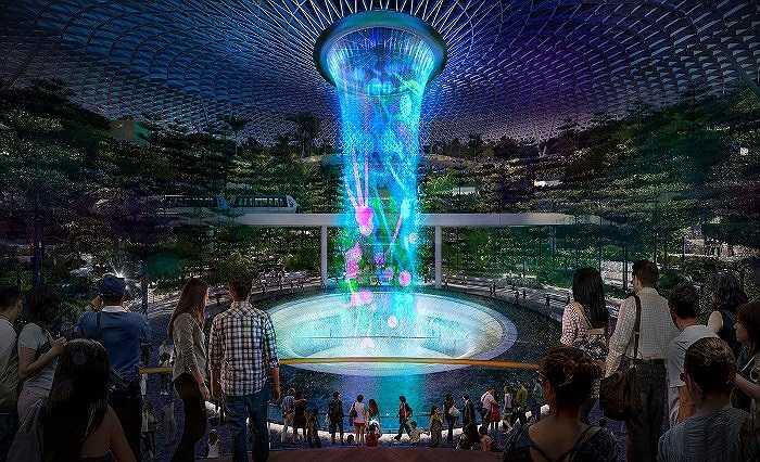 Rain Vortex sẽ là thác nước cao nhất được xây dựng trong nhà sau khi hoàn thành. Ban đêm, nơi đây còn có buổi trình diễn kết hợp giữa ánh sáng, nước và âm thanh.