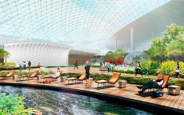 Nhà ga với thiết kế tự nhiên đặc biệt có hai công viên trung tâm, một dòng suối chảy róc rách và vườn tự nhiên với nhiều loài chim cùng thực vật nhiệt đới. Bên cạnh đó còn có cả một sân khấu để biểu diễn trực tiếp dưới ánh sáng mặt trời.