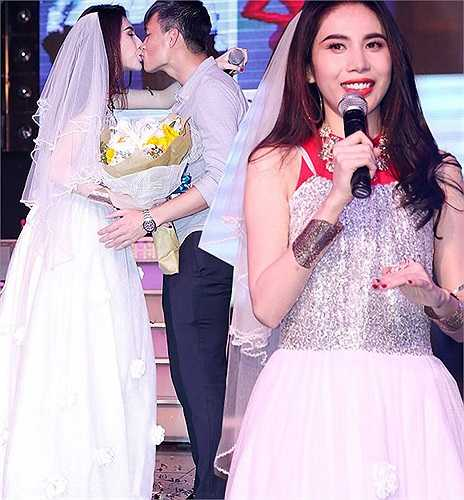 Mới đây, trong một buổi gặp mặt người hâm mộ, Thủy Tiên đã khiến khán phòng rất phấn khích khi cô mặc một bộ váy cưới và hôn Công Vinh trên sân khấu.