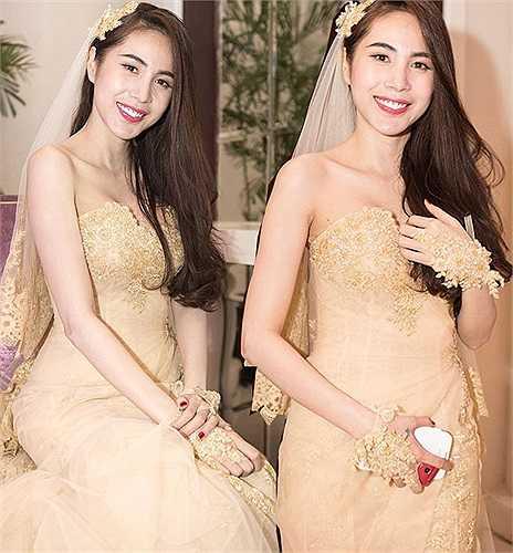 Người đẹp nền nã và ngọt ngào trong bộ váy cưới màu nude.
