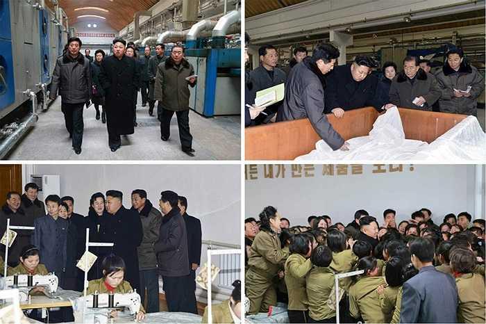 Ông Kim tỏ ra hài lòng với hoạt động sản xuất của xưởng dệt này