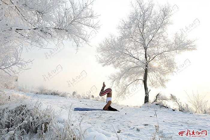 Những động tác Yoga điêu luyện được thực hiện ngoài trời lạnh âm 30 độ C