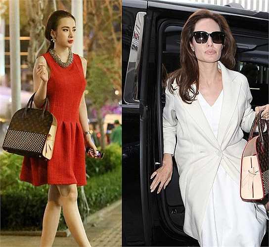 Chiếc túi 8.000USD của Angela Phương Trinh đụng hàng với minh tinh Hollywood Angelina Jolie.