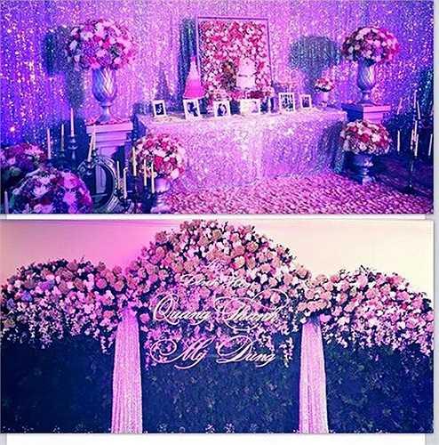 Tiệc đính hôn của Midu được trang trí với tông màu hồng tím và ngàn bông hoa tươi.