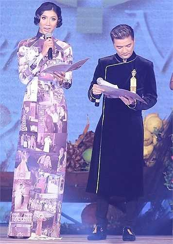 Với chiều cao 1,73m, người mẫu Ngọc Quyên trội hơn hẳn so với Đàm Vĩnh Hưng khi đi thêm giày cao chục phân.