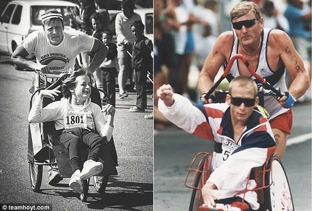 Rick trên chiếc xe lăn cùng cha mình - Dick tham dự các cuộc thi marathon