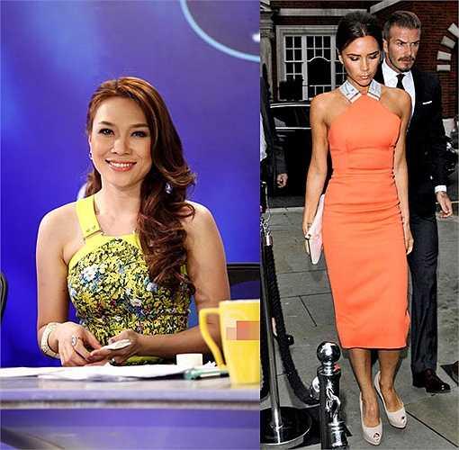Phần cổ váy của Mỹ Tâm lấy cảm hứng từ chi tiết quai váy đặc trưng trong bộ sưu tập Victoria Beckham Xuân hè 2012