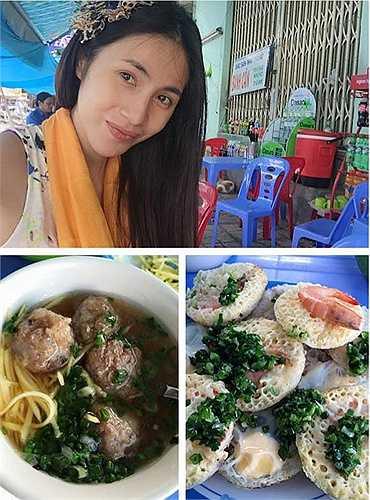 Thủy Tiên giản dị đi ăn vỉa hè khi cô tới Nha Trang.