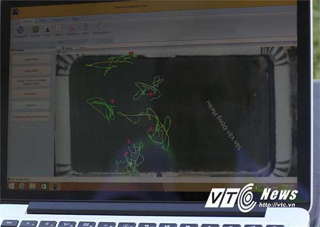 Hình ảnh các vị trí có gắn chíp hiển thị trên máy tính. Các số liệu thống kê sẽ được tiếp tục xử lý và cho ra những kết quả chính xác về quá trình tập luyện của cầu thủ HAGL