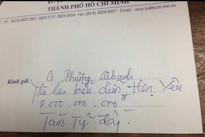 Phương Thanh tiết lộ cát-xê 8 tỷ: Vào đầu năm 2014, Phương Thanh bất ngờ cho đăng tải chiếc phong bì kèm theo dòng chia sẻ: Thù lao biểu diễn cao nhất Việt Nam hiện nay. Tám tỷ đồng cho một show diễn Hẹn yêu.
