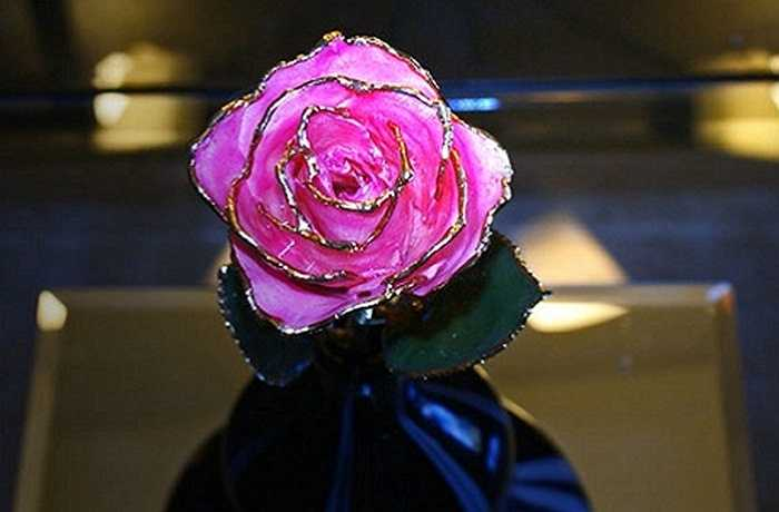 Hoa hồng mạ vàng viền cánh hút khách nhờ vẻ ngoài lạ mắt, món quà Valentine đắt tiền này được săn tìm khi lễ tình nhân đang đến.