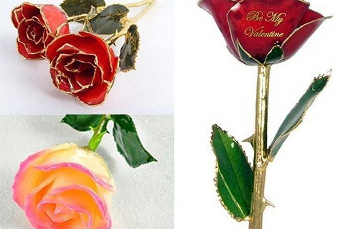 Hoa hồng mạ vàng viền cánh thực chất là những bông hoa hồng tươi, vẫn nguyên cành lá, sau đó, nhúng vào sơn mài để cánh hoa giữ nguyên màu sắc và sự tươi tắn. Mỗi cành hoa hồng dạng này dài 28 - 31cm, đựng trong một hộp nhỏ, khá thanh mảnh.