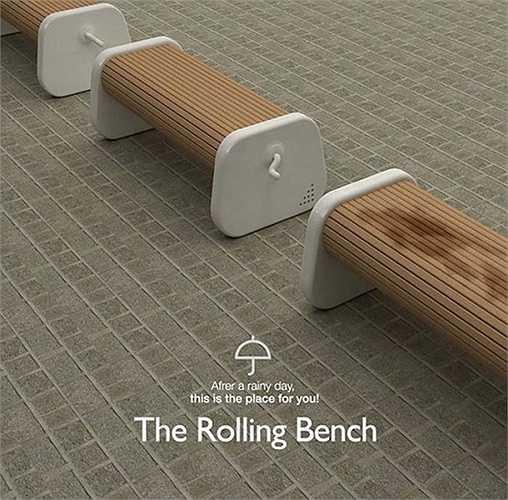 2. Ghế băng có thể xoay: Đây sẽ là giải pháp lý tưởng cho những chiếc ghế đặt ở nơi công cộng. Khi trời tạnh mưa, bạn chỉ việc quay mặt ghế xuống bên dưới để có thể ngồi ở vị trí khô ráo. Sản phẩm do Yoonha Paick, Jongdeuk Son, Banseok Yoon, Eunbi Cho và Minjung Sim thiết kế.