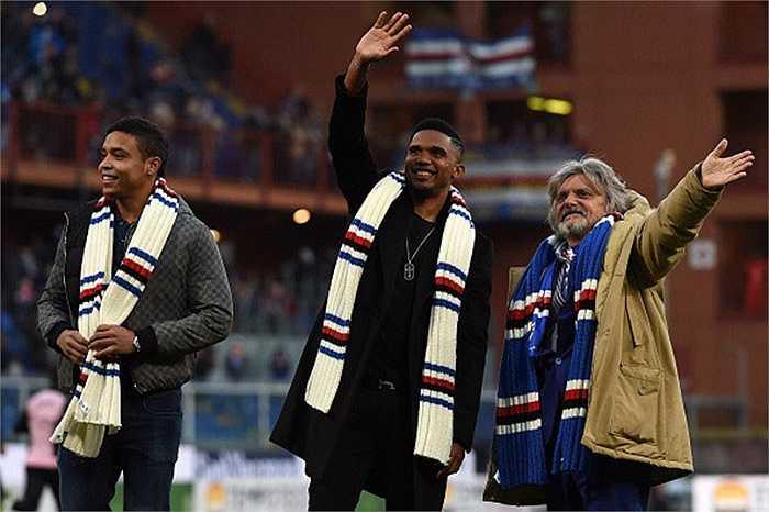 Sau 2 năm chinh chiến ở Premier League, Eto'o trở lại Serie A khoác áo Sampdoria
