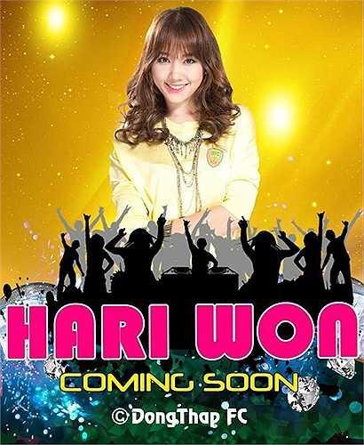 Poster quảng cáo Hari Won tới sân Cao Lãnh, Đồng Tháp khuấy động trước và giữa trận Đồng Tháp vs QNK Quảng Nam. (Ảnh: Tri thức trẻ)