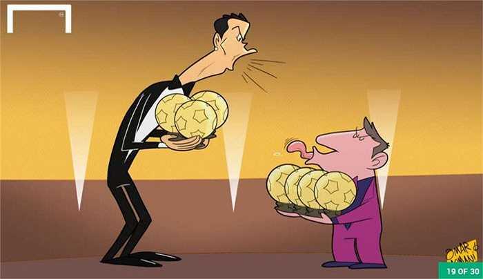 Cuộc chiến bóng vàng giữa Ronaldo và Messi vẫn diễn ra vô cùng căng thẳng