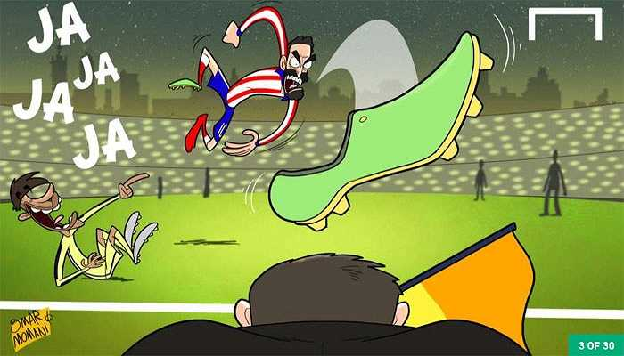 'Kỳ án' giày bay của Arda Turan. Cầu thủ Atletico ném giày vào trọng tài