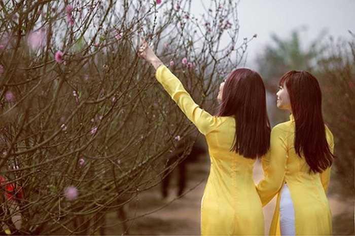 Như một nét văn hóa đã thành quen thuộc trong giới trẻ Hà Nội, cứ mỗi năm hoa đào nở hoa, vườn đào Nhật Tân lại dập dìu trai thanh nữ tú tới lưu lại những khoảnh khắc đẹp bên vườn hoa xuân.