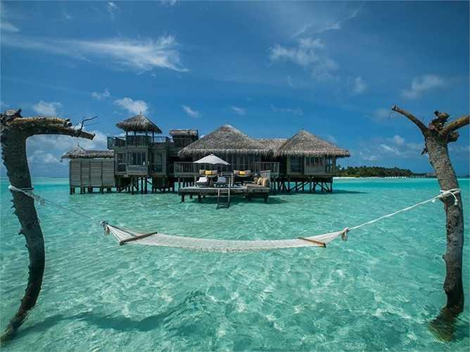 Khách sạn 5 sao Gili Lankanfushi Maldives. Giá phòng từ 1,731 USD/đêm. Khách sạn được đánh giá số một thế giới này là một căn nhà gỗ sang trọng ở Maldives với quy định nghiêm ngặt 'Không tin tức, không giày dép', giúp du khách tận hưởng tối đa thời gian nghỉ dưỡng quý báu của mình