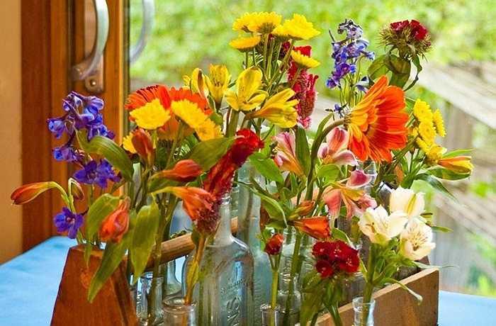 Đặt các chai cổ nhỏ và lớn bên trong một hộp gỗ cũ và cắm đầy hoa dại mùa xuân sinh động nhất của khu vườn nhà bạn.