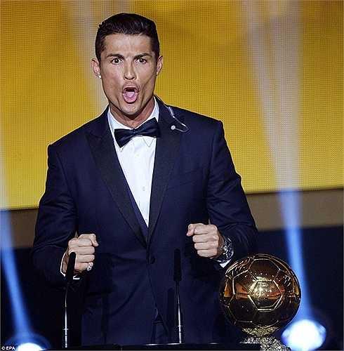 Ronaldo phấn khích khi bảo vệ thành công Quả bóng vàng FIFA năm 2014