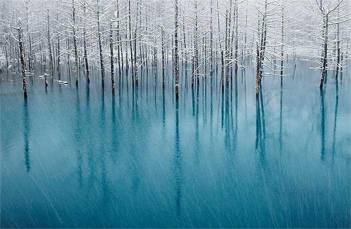 Một hồ nước trong xanh đóng băng tại Nhật Bản