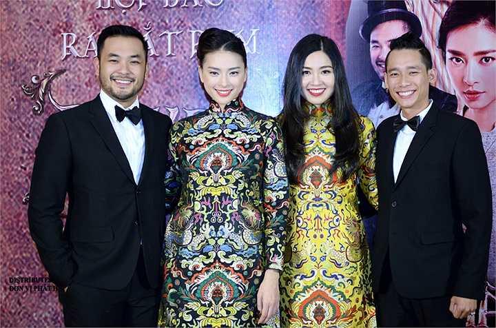 Petey Nguyễn, Quốc Dũng (phải), hai diễn viên khác của phim cũng bay ra Hà Nội để gặp gỡ báo giới.