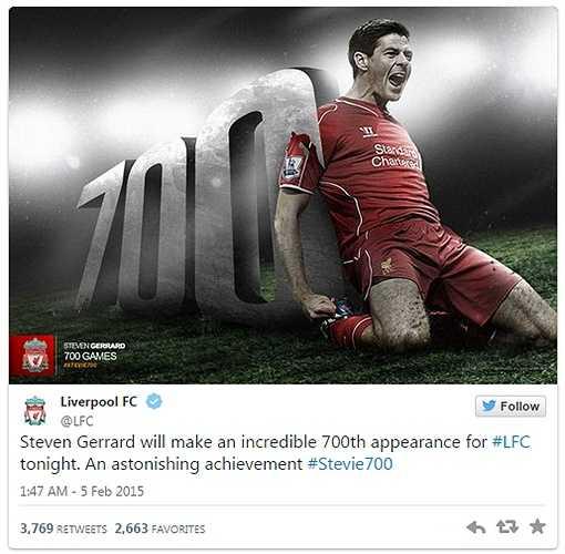 Cuộc chạm trán Liverpool - Bolton vừa qua, là trận đấu thứ 700 của Steven Gerrard trong màu áo Liverpool.