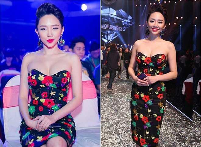 Trước đó, tại sự kiện đêm chung kết Next Top Model diễn ra vào tháng 1, giọng ca sinh năm 1989 cũng phô ngực đầy trong bộ váy họa tiết hoa và ôm sát.