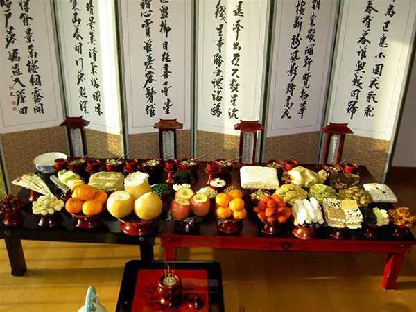 Mâm cúng lễ tổ tiên của người Hàn Quốc